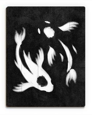"""Click Wall Art Yin-Yang Koi Painting Print on Plaque in Black CHI0000032PLK Size: 20"""" H x 16"""" W x 1"""" D"""