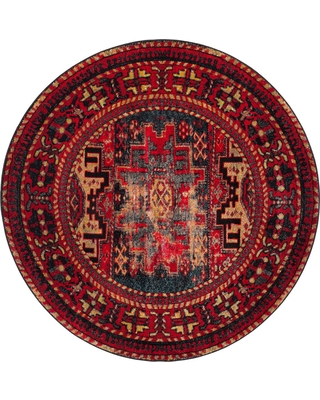 """5'3"""" Tribal Design Loomed Round Area Rug Red - Safavieh, Size: 5'3"""" ROUND"""