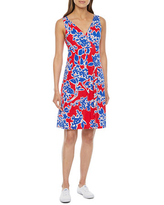 St. John's Bay Sleeveless Floral A-Line Dress, Small , Red