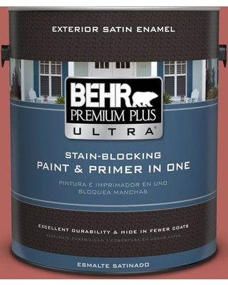 BEHR Premium Plus Ultra 1 gal. #180D-6 Mineral Red Satin Enamel Exterior Paint and Primer in One