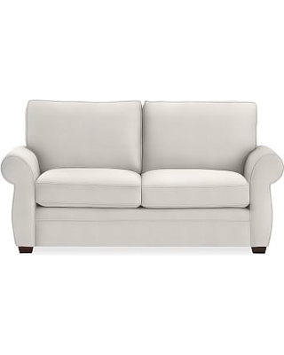 """Pearce Roll Arm Upholstered Loveseat 73"""", Down Blend Wrapped Cushions, Performance Heathered Tweed Ivory"""