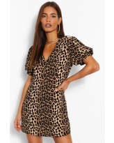 Womens Leopard Print Plunge Puff Sleeve Shift Dress - Brown - 12
