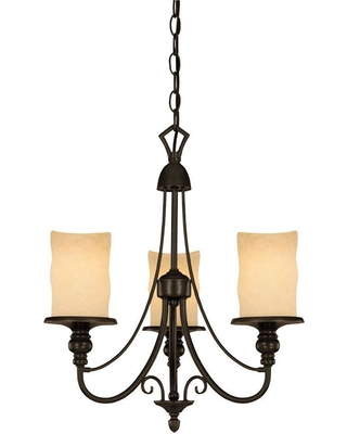 Westinghouse 3-Light Burnished Bronze Patina Interior Chandelier with Burnt Scavo Glass