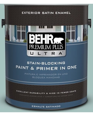 BEHR ULTRA 1 gal. #T17-08 Polished Aqua Satin Enamel Exterior Paint and Primer in One
