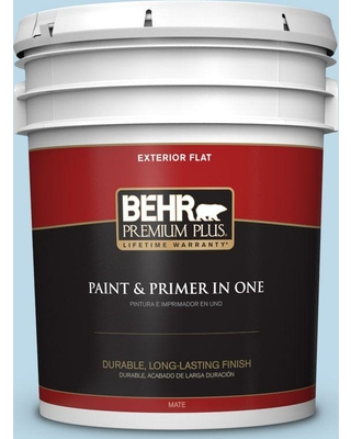 BEHR Premium Plus 5 gal. #M500-1 Tinted Ice Flat Exterior Paint and Primer in One