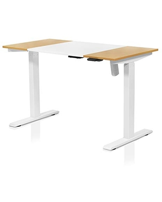 Furniture of America Grant Two-Tone Height Adjustable Electric Office Desk, 47.25-inch, White and Maple