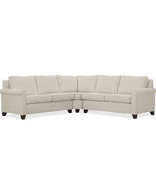 Cameron Roll Arm Upholstered 3-Piece L-Shaped Wedge Sectional, Polyester Wrapped Cushions, Performance Everydaylinen(TM) by Crypton(R) Home Oatmeal