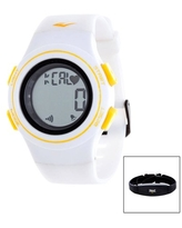 Everlast HR6 Heart Rate Monitor Watch with Transmitter Belt, White Plastic Band