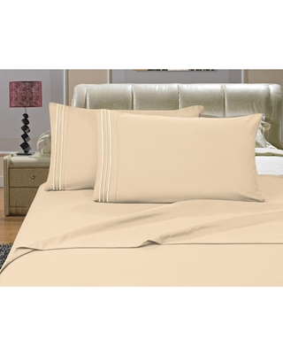 Elegant Comfort 1500 Series 4-Piece Cream (Ivory) Triple Marrow Embroidered Pillowcases Microfiber Twin XL Size Bed Sheet Set