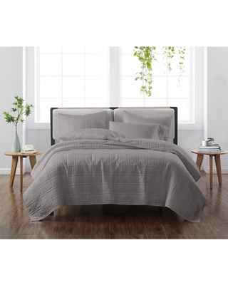 King 3pc Solid Quilt Set Gray - Cannon Heritage
