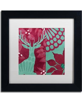 """Trademark Art 'Woodland Winter IV' by Color Bakery Framed Graphic Art ALI4063-B1 Size: 11"""" H x 11"""" W x 0.5"""" D Mat Color: White"""