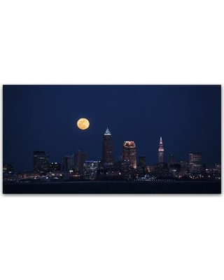 """Trademark Art 'Full Moon CLE' Photographic Print on Wrapped Canvas KS01230-C Size: 24"""" H x 47"""" W x 2"""" D"""