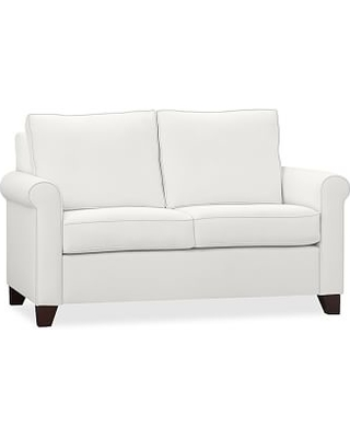 """Cameron Roll Arm Upholstered Loveseat 63"""", Polyester Wrapped Cushions, Twill White"""