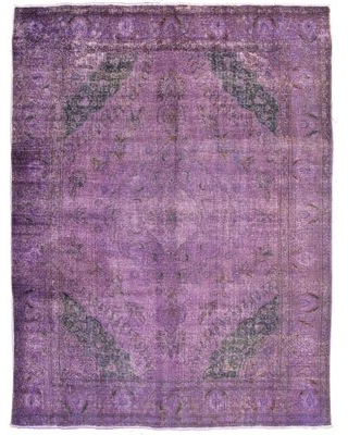 """One-of-a-Kind Deztiney Hand-Knotted 1980s 9'8"""" x 13'1"""" Wool Area Rug in Purple"""