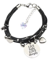 Genuine Leather Bracelet made with Crystals from Swarovski - Live fully