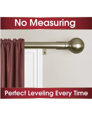 Smart Rods No Measuring Easy Install Drapery Window Curtain Rod, Ball Finial