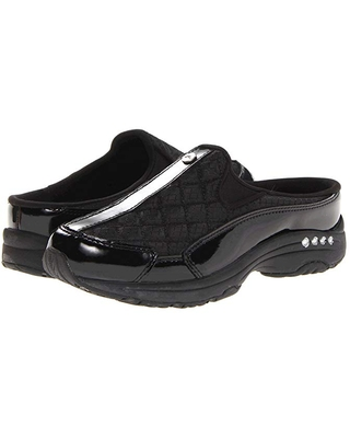 Easy Spirit Traveltime (Black Patent Leather/Silver) Women's Clog Shoes