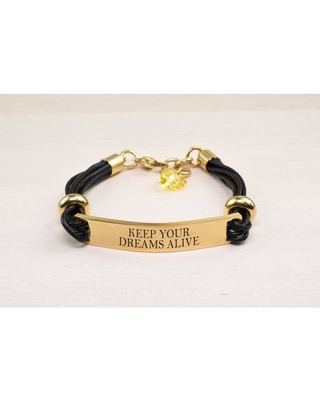 Genuine Leather ID Bracelet with Crystals from Swarovski - KEEP YOUR DREAMS ALIVE