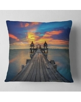 Check Out Some Sweet Savings On Designart Wide Wooden Bridge Into Distant Sun Pier Seascape Throw Pillow Round 20 Inches Round Large