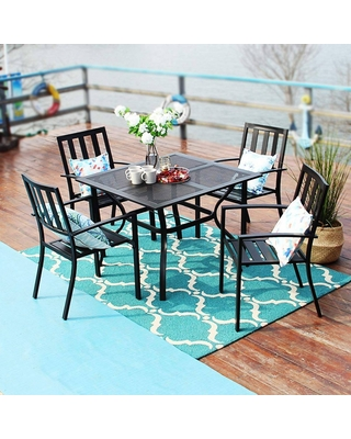 5pc Metal Indoor/Outdoor Square Gridded Dining Table with Arm Chairs & Umbrella Hole - Captiva Designs