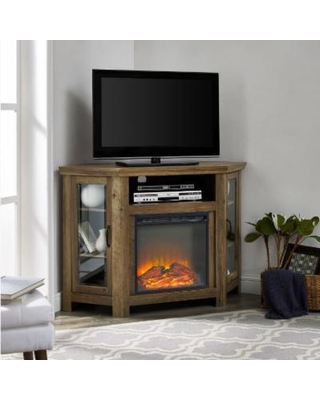 52 Clic Traditional Wood Corner Fireplace Media Tv Stand Console In Rustic Oak Walker