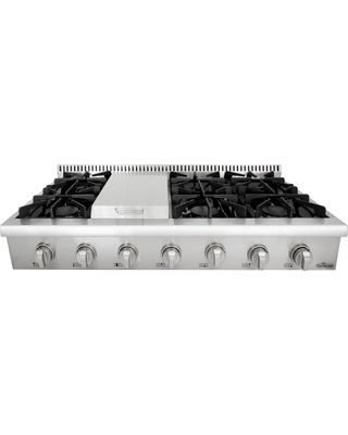 Gas Range Top In Stainless Steel Silver With 6