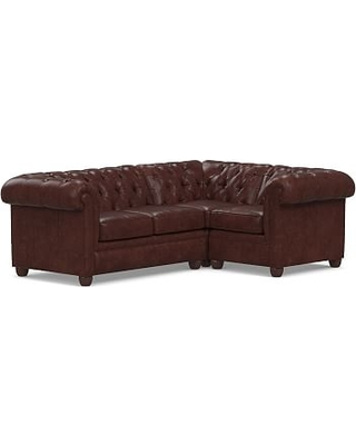 Chesterfield Roll Arm Leather Left Arm 3-Piece Corner Sectional Polyester Wrapped Cushions, Statesville Espresso