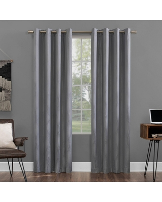 """96""""x52"""" Beck Geometric Ogee Thermal Extreme Blackout Grommet Top Curtain Panel Gray - Sun Zero"""