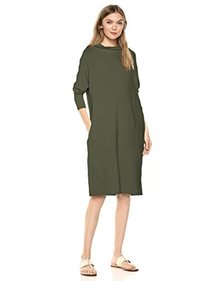 Amazon Brand - Daily Ritual Women's Supersoft Terry Oversized-Fit Modern Funnel-Neck Dress, Olive,Small