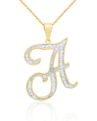 14k Gold Overlay Diamond Accent Initial Pendant Necklace (Rose, P)