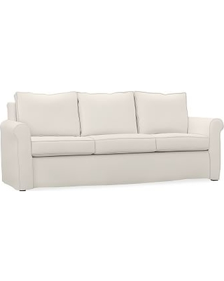 Cameron Roll Arm Slipcovered Queen Sleeper Sofa with Memory Foam Mattress, Polyester Wrapped Cushions, Brushed Crossweave Navy