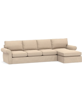 Pearce Roll Arm Slipcovered Left Arm Loveseat with Chaise Sectional, Down Blend Wrapped Cushions, Performance Everydayvelvet(TM) Buckwheat