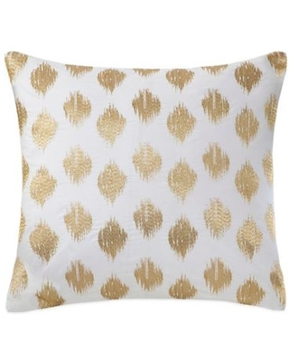 INK+IVY Nadia Dot Embroidered Square Throw Pillow in Gold