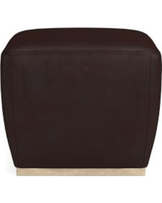 Tapered Pouf, Heritage Grey, Tuscan Leather, Chocolate