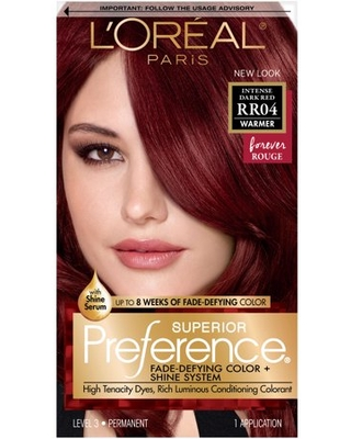L'Oreal Paris Superior Preference Fade-Defying Shine Permanent Hair Color, RR-04 Intense Dark Red, 1 kit