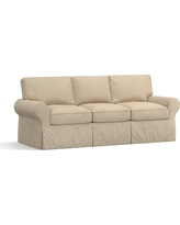 PB Basic Slipcovered Sofa, Polyester Wrap Cushions, Twill Parchment