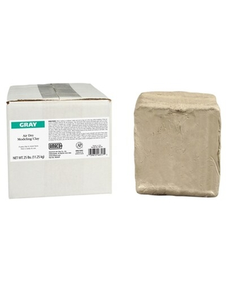 American Art Clay AMACO Air Dry Modeling Clay, Gray, 25 lbs. (AMA46317P), Grey   Quill