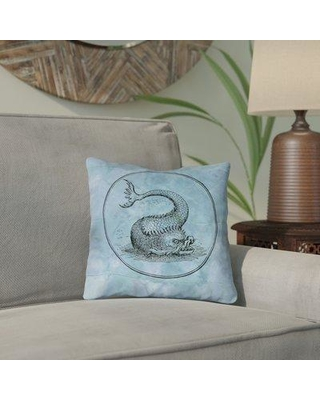 """Bloomsbury Market Carpenter Blue Vintage Sea Monster Double Sided Print Throw Pillow BLMK6672 Size: 18"""" x 18"""" Type: Throw Pillow Material: Suede"""