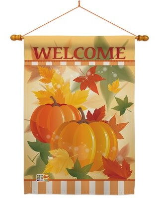 Welcome Fall Pumpkins 2-Sided Polyester 40 x 28 in. Flag Set Breeze Decor