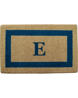 Nedia Home Single Picture Frame Tan/Blue 22 in. x 36 in. Heavy Duty Coir Monogrammed E Door Mat