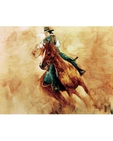 Millwood Pines Cowgirl Racing' Oil Painting Print on Wrapped Canvas BI027842