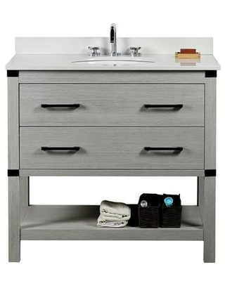 """808175-36-GP-WEO 37"""" Single Vanity In Gray Pine Finish Top With White Quartz And Oval"""