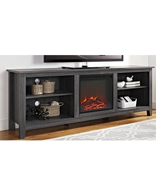 "Walker Edison Furniture Company Minimal Farmhouse Wood Fireplace Universal Stand for TV's up to 80"" Flat Screen Living Room Storage Shelves Entertainment Center, 70 Inch, Charcoal"