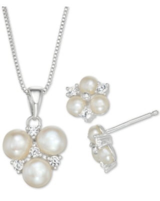 Cultured Freshwater Pearl and Cubic Zirconia Pendant Necklace and Stud Earrings Set in Sterling Silver