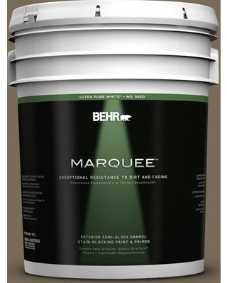 BEHR MARQUEE 5 gal. #730D-6 Coconut Husk Semi-Gloss Enamel Exterior Paint and Primer in One