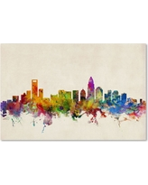 """'Charlotte Watercolor Skyline' by Michael Tompsett Ready to Hang Canvas Wall Art (30""""x47"""")"""