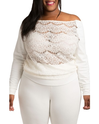 Plus Size Women's Poetic Justice Lace & Ponte Knit Top, Size 1X - White