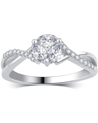 Divina 14k White Gold 1/2ct TDW Round and Marquise Diamond Engagement Ring (8)