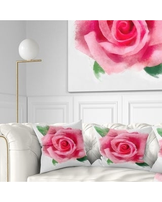 Designart 'Big Pink Rose Flower with Leaves' Floral Throw Pillow