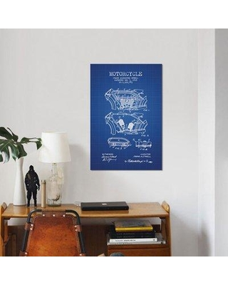 """East Urban Home 'Frank A. Etwell Motorcycle Patent Sketch' Graphic Art Print on Canvas in Blue Grid ERBR0078 Size: 18"""" H x 12"""" W x 0.75"""" D"""